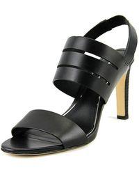 12810857e0c Elie Tahari - Highland Women Open-toe Leather Black Slingback Heel - Lyst