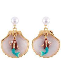 Les Nereides - I Am A Mermaid Little Mermaid In Her Shell Earrings - Lyst