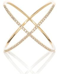 Adornia - Yellow Gold And Swarovski Crystal Crossover Ring - Lyst