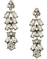 Sparkling Sage - Silver Plated Crystal & Resin Drop Earrings - Lyst