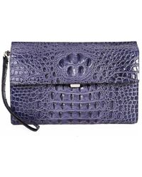 Tiffany & Fred - Alligator Embossed Leather Clutch - Lyst