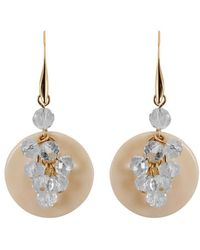 Gottex - 18k Plated Shell & Crystal Cluster Earrings - Lyst