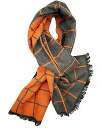 Dibi - Bright Orange & Grey Window Pane Scarf - Lyst