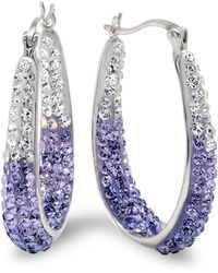 Amanda Rose Collection - Sterling Silver Purple And White Hoop Earrings Made With Swarovski Crystals - Lyst