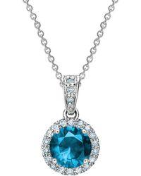Tia Collections - 6mm Blue Sapphire & Diamond Halo Pendant - Lyst