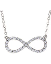 JewelryAffairs | Infinity Sign Link And Cz Necklace In Sterling Silver, 18 | Lyst