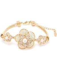 Peermont - Natural Shell Pearl And Swarovski Elements Flower Bracelet - Lyst