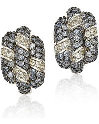 Suzy Levian - Sapphire And Diamond In Sterling Silver And 18k Gold Earring - Lyst