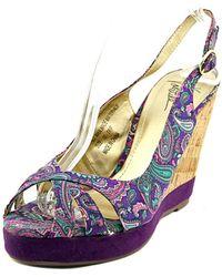 Very Volatile | Trip Open Toe Canvas Wedge Sandal | Lyst