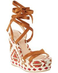 Gianvito Rossi - Embroidered Canvas & Suede Wedge Sandal - Lyst