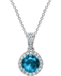 Tia Collections - 0.13ctw Diamond Halo Pendant With 6mm Blue Topaz - Lyst
