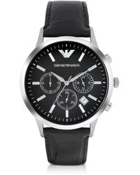 Emporio Armani - Men's Black Steel Watch - Lyst