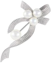 Splendid - Sterling Silver Pearl Brooch With Cz Accents - Lyst