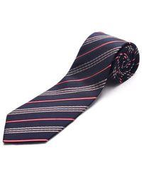 Luciano Barbera | Men Slim Silk Neck Tie Navy Red | Lyst