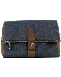 Brunello Cucinelli - Mens Brown Leather Denim Wash Bag - Lyst
