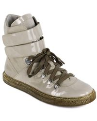 Brunello Cucinelli - Beige Patent Leather High Top Sneakers - Lyst