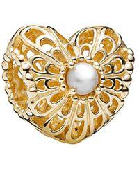 PANDORA - Vintage Heart 14k Pearl Charm - Lyst