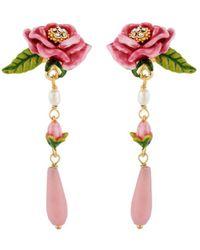 Les Nereides - Balad In Versailles Pink Flower Rosebud And Drop Earrings - Lyst