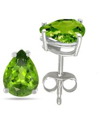 Tia Collections - 7x5 Pear Shape Peridot Earrings In 14k White Gold - Lyst