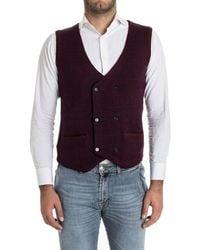 Lardini - Men's Burgundy Wool Vest - Lyst