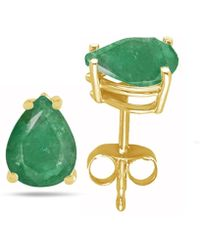 Tia Collections - 8x6 Oval Shape Emerald Earrings In 14k Yellow Gold - Lyst