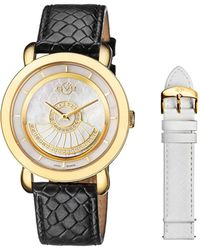 Gv2 - Catania Ipyg Case With White Mop Dial And White Leather Strap And Spare Black Leather Strap - Lyst