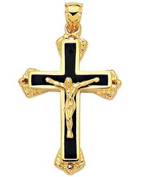 Jewelry Affairs - 14k Yellow Gold And Black Enamel Crucifix Cross Mens Pendant - Lyst