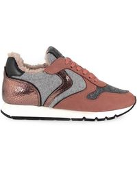 Voile Blanche - Women's Grey/red Leather Sneakers - Lyst