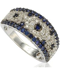 Suzy Levian - 2.28ct Sapphire And Diamond In Sterling Silver And 18k Abstract Gold Ring - Lyst