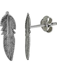 Adornia - Sterling Silver Leaf Stud Earrings - Lyst