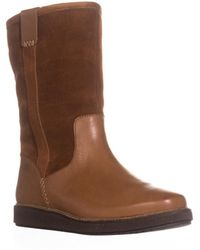 Clarks - Glick Elmfield Mid Calf Pull On Wool Lined Winter Boots, Tan Combi - Lyst
