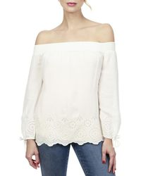 Lucky Brand - Womens Eyelet Smocked Casual Top - Lyst