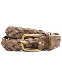 Eleventy - Women's Beige Leather Belt - Lyst