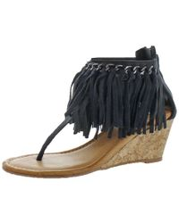 Not Rated - Womens Sybil Double Fringe Cork Thong Sandals - Lyst