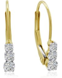 Amanda Rose Collection - Ags Certified 14k Yellow Gold Three-stone Diamond Lever Back Earrings 1/2ct Tw - Lyst