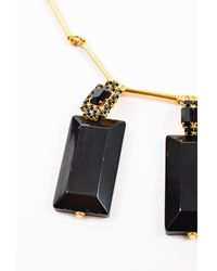Marni - Nwot Black Gold Tone Horn Crystal Triple Pendant Tie Necklace - Lyst