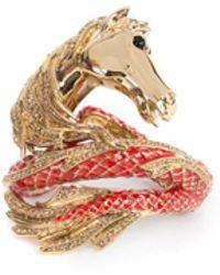 Roberto Cavalli | Limited Edition Brass Gold Swarovski Horse Bracelet | Lyst
