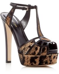 76ee108a4fca Sergio Rossi - Puzzle Calf Hair T-strap Platform Sandal - Lyst