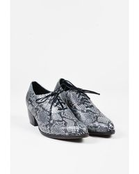 "Calleen Cordero - Metallic Silver Leather Embossed Lace Up ""kale"" Oxfords - Lyst"