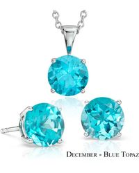 Suzy Levian - 18k Goldplated Sterling Silver 3ct Blue Topaz December Birthstone Set Made With Swarovski Gemstones - Lyst