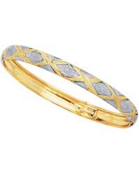 Jewelry Affairs - 10k Yellow And White Gold High Polished Flex Bangle Bracelet, 7 - Lyst