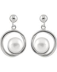 Splendid - Dangling Silver Pearl Earrings With Ball Earrings - Lyst