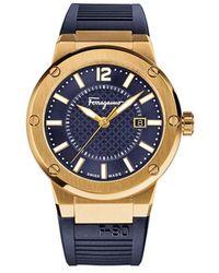 Ferragamo - F-80 Men's Navy Blue Dial Watch, Model: Fif050015 - Lyst