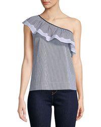 Saks Fifth Avenue Black - Cotton-blend Striped One-shoulder Top - Lyst