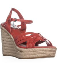 COACH - Dottie Strappy Ankle Strap Wedge Sandals , Carmine - Lyst