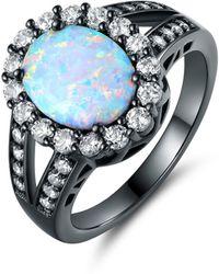 Peermont - Black Rhodium Plated White Fire Opal Flower Ring - Lyst