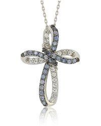 Suzy Levian - Sterling Silver Blue & White Sapphire & Diamond Accent Cross Pendant - Lyst