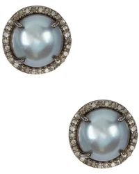 Adornia - Grey Freshwater Pearl And Champagne Diamond Echo Earrings - Lyst