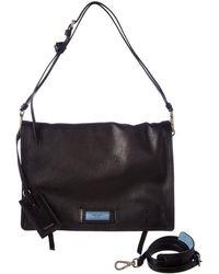 832908265597 Lyst - Prada Etiquette Calf Leather Shoulder Bag in Black
