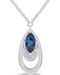 Julianna B - 1/5 Ct Diamond Tw And Blue Topaz London Necklace - Lyst